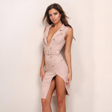 Push My Buttons Pink Belted Mini Dress - Fashion Genie Boutique