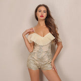 Cocktail Bling Nude & Gold Embroidered Playsuit - Fashion Genie Boutique