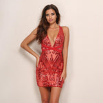 Bellissima Red Plunge Sequined Bandage Mini Party Dress - Fashion Genie Boutique