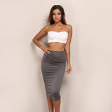 Neyla Grey & White Two Piece Crop Top & Midi Skirt Co-Ord - Fashion Genie Boutique
