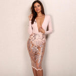 Tanya Nude & Gold Embellished Long Sleeved Lace Midi Dress - Fashion Genie Boutique