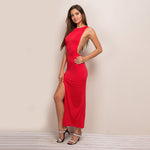 Jaw Dropping Red Chained High Split Maxi Dress - Fashion Genie Boutique