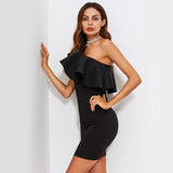 You're A Doll Black Frill Asymmetric Mini Dress - Fashion Genie Boutique
