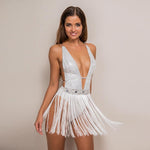 Glitter Doll White And Silver Crystal Embellished Fringed Bodysuit - Fashion Genie Boutique