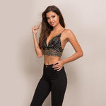 Love Crime Black & Gold Lace Bralet Crop Top - Fashion Genie Boutique