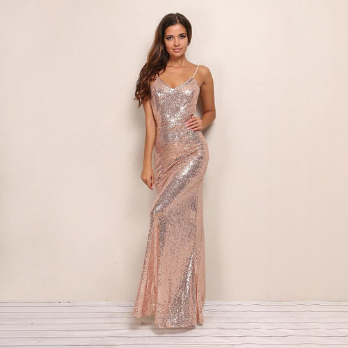 Golden Fantasy Gold Sequin Maxi Dress - Fashion Genie Boutique