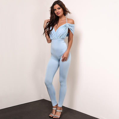 Jump Into Love Blue Bardot Jumpsuit - Fashion Genie Boutique