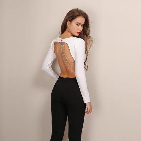 Arya White Long Sleeve Chain Crop Top - Fashion Genie Boutique