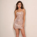 Lust For Life Nude Sequin Mini Dress - Fashion Genie Boutique
