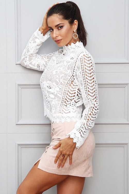 Lost Stars White Crochet Long Sleeve Top Fashion Genie Boutique