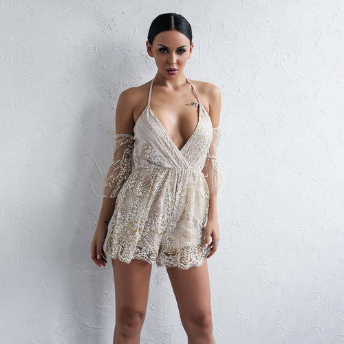 Gorgeous Everyday Nude Embroidered Playsuit - Fashion Genie Boutique