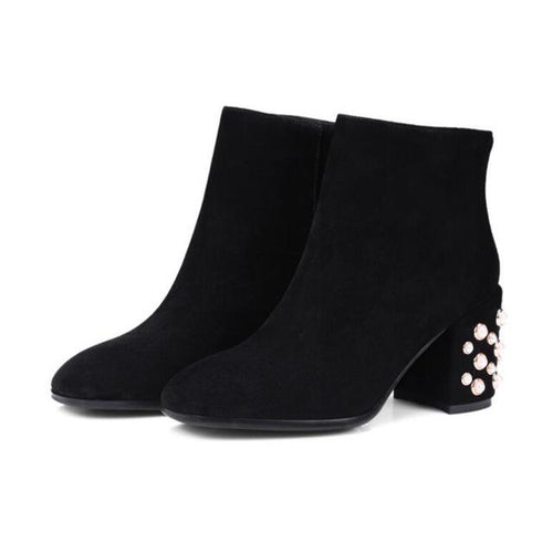 Swagger Black Pearl Embellished Heel Ankle Boots - Fashion Genie Boutique