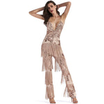 Puttin' on the Glitz Gold Sequin Tassel Fringe Jumpsuit - Fashion Genie Boutique