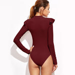 Vertigo Burgundy Frill Sleeve Bodysuit - Fashion Genie Boutique
