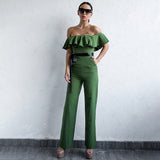 Brighton Green Bardot Ruffle Jumpsuit - Fashion Genie Boutique