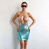 Chic Peak Gold & Turquoise Sequin Gradient Mini Party Dress - Fashion Genie Boutique