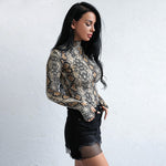 Medusa Multi Snake Print Long Sleeve Bodysuit - Fashion Genie Boutique