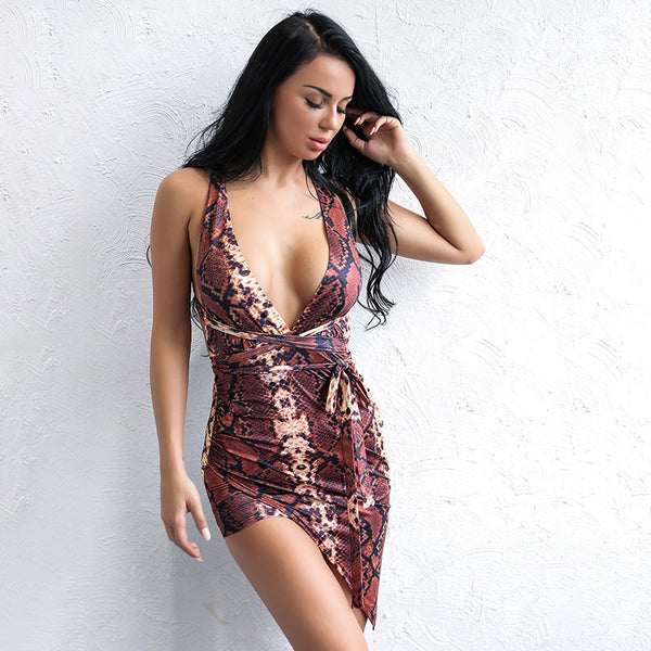 Amia Burgundy Snake Print Long Sleeve Mini Dress - Fashion Genie Boutique