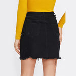 Totally Clueless Black Distressed Denim Pearl Embellished Mini Skirt - Fashion Genie Boutique