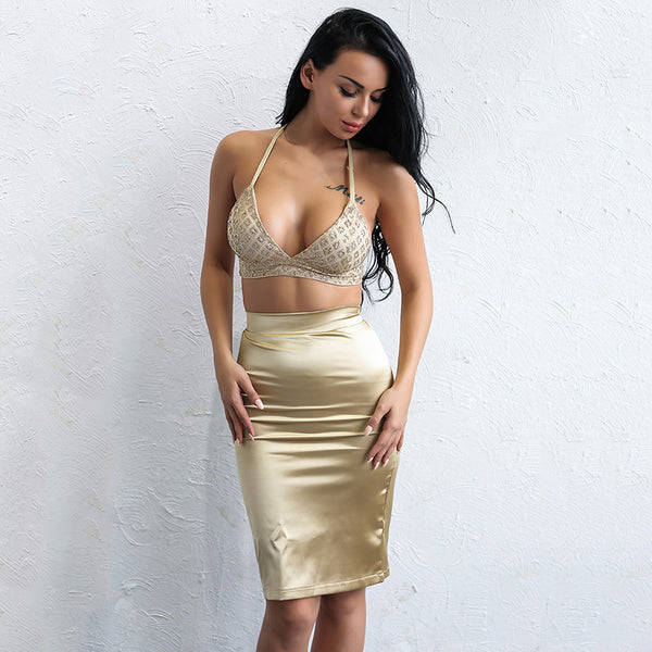 Bondi Babe Gold Sequin Crop Top & Mini Skirt Co-Ord - Fashion Genie Boutique