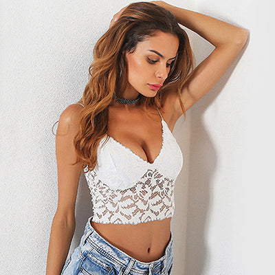 Monaco White Lace Sheer Bralet - Fashion Genie Boutique