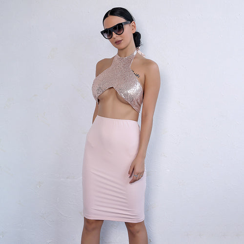 95ecbdd12e Party Queen Pink Rose Gold Sequin Crop Top   Skirt Co-Ord - Fashion Genie