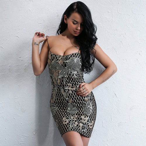 Shayla Black & Gold Embroidered Mini Dress - Fashion Genie Boutique