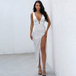 Zara White Slinky Maxi Dress - Fashion Genie Boutique