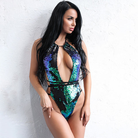 Danata Multi Iridescent Sequin Monokini Swimsuit - Fashion Genie Boutique