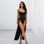 We're Splitting Black Double Split Jumpsuit - Fashion Genie Boutique
