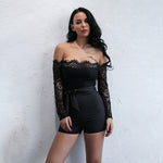 Meant To Be Black Bardot Lace Playsuit - Fashion Genie Boutique