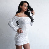 Can't Touch This White Bardot Sequin Long Sleeve Mini Dress - Fashion Genie Boutique