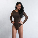 Be Delicious Brown Long Sleeve Bodysuit - Fashion Genie Boutique