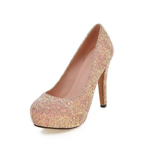 Dirty Dancing Pink Gold Glitter Court Shoes - Fashion Genie Boutique