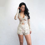 Ice Cream Kisses Gold Lace Top & Short Co-Ord - Fashion Genie Boutique