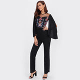 Drama Queen Black Embroidered Cape Sleeve Jumpsuit - Fashion Genie Boutique