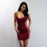 Bandage Queen Burgundy Lace Up Mini Dress - Fashion Genie Boutique
