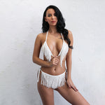 Sipping Champagne White & Nude Fringe Bikini Swimsuit - Fashion Genie Boutique