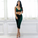Only Yours Green Velvet Bralet & Cropped Trousers Co-Ord - Fashion Genie Boutique