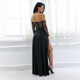 Luxury Lady Black Bardot Glitter Embellished Long Sleeve Maxi Dress - Fashion Genie Boutique
