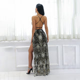 Blazing Heat Black Sequin Maxi Split Dress - Fashion Genie Boutique