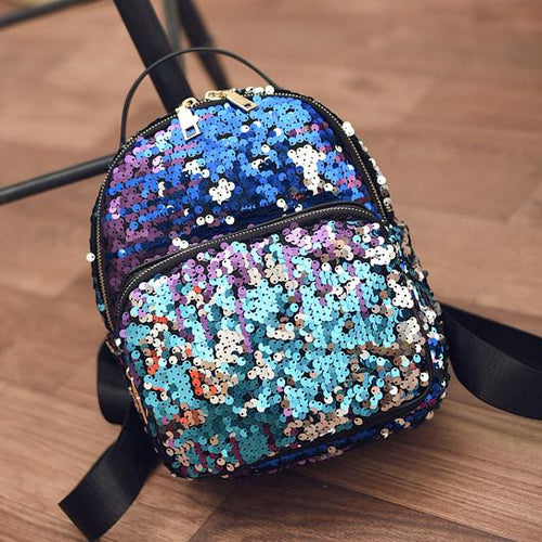 Mini Blue Sequin Backpack - Fashion Genie Boutique