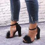 Love Bites Black Feather Strappy Heels - Fashion Genie Boutique