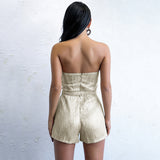 Bad Business Gold Strapless Playsuit - Fashion Genie Boutique