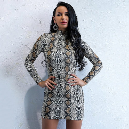 Second Nature Multi Snake Print Long Sleeve Mini Dress - Fashion Genie Boutique