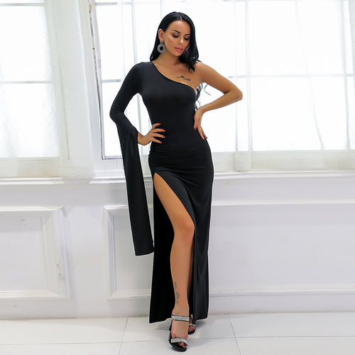 Sashay Away Black Asymmetrical Black Split Maxi Dress - Fashion Genie Boutique