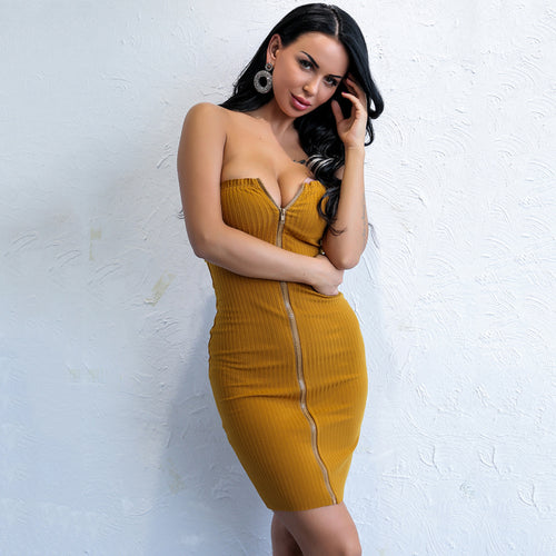 Wild Thoughts Mustard Yellow Ribbed Zip Up Mini Dress - Fashion Genie Boutique