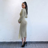 Wrapped Up In You Gold Metallic Knit Wrap Midi Dress - Fashion Genie Boutique