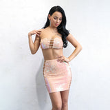 Little Miss Pink Iridescent Crop Top & Mini Skirt Co-Ord - Fashion Genie Boutique