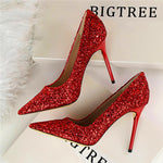Till the Glitter Ends Red High Heels - Fashion Genie Boutique